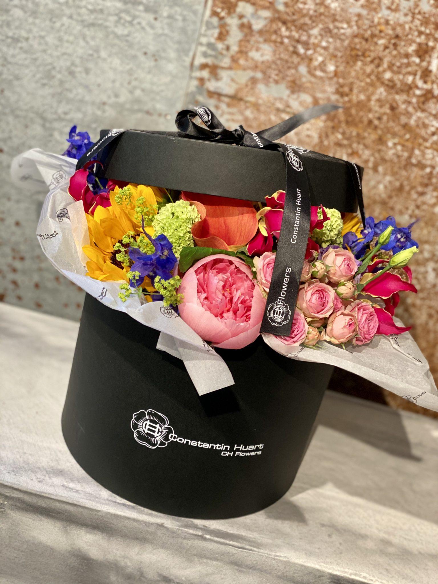 Boite a chapeau fleurs colorees